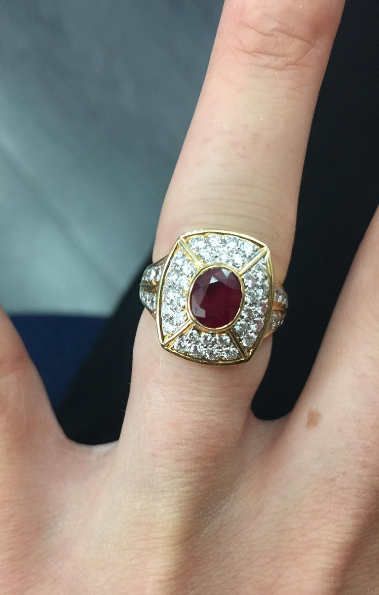 Cartier Ruby and Diamond Earrings and Ring Set For Sale 4