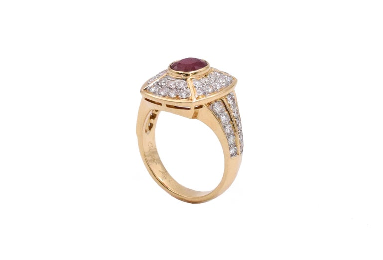 Artist Cartier Ruby and Diamond Earrings and Ring Set For Sale