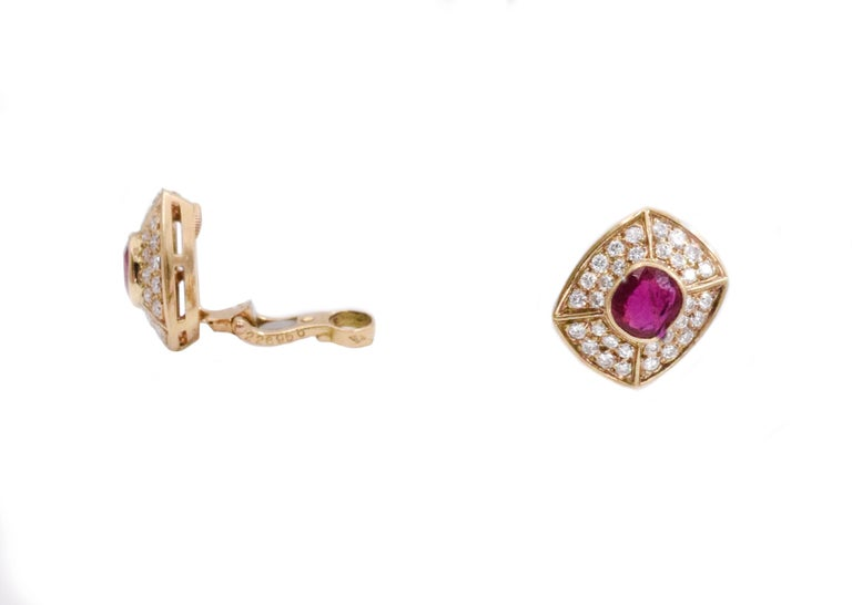 Oval Cut Cartier Ruby and Diamond Earrings and Ring Set For Sale