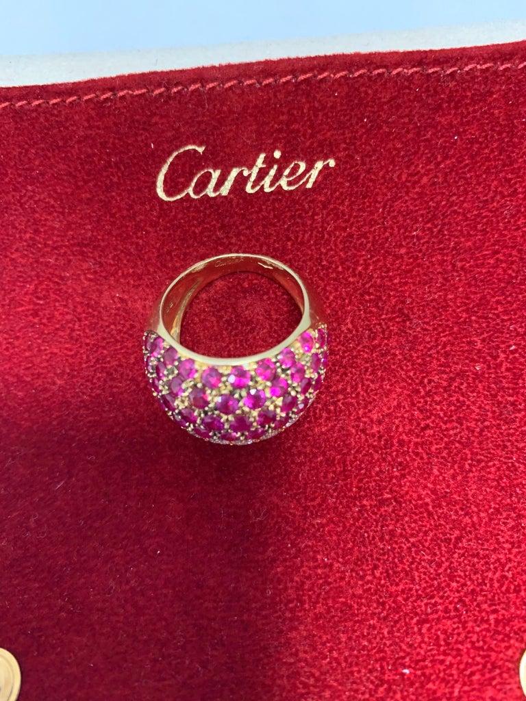 Women's or Men's Cartier Ruby Diamond Bombe Gold Ring For Sale