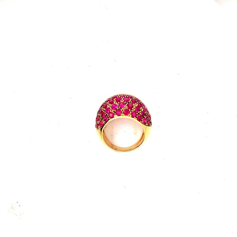 Cartier Ruby Diamond Bombe Gold Ring For Sale 1