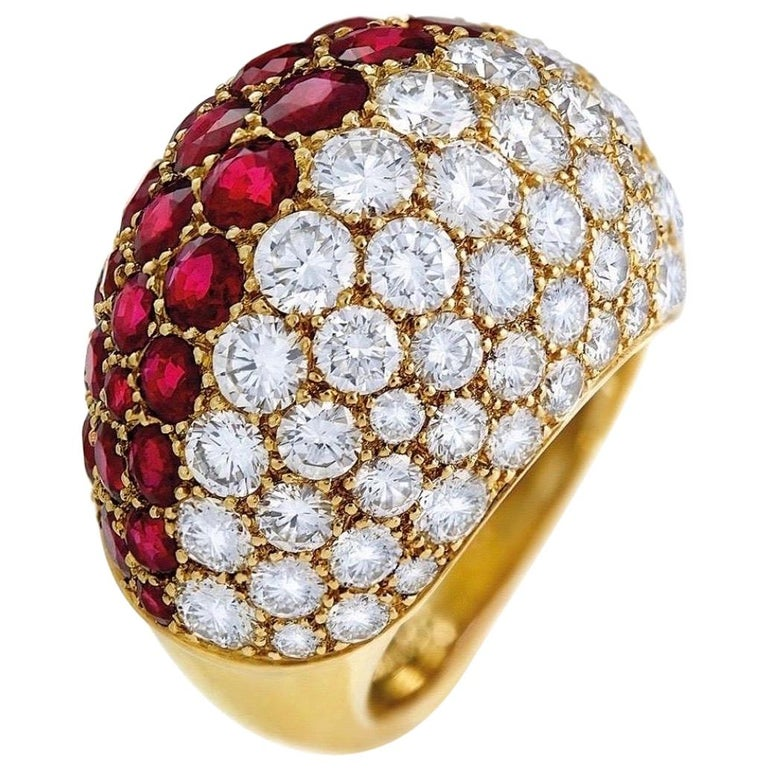Cartier Ruby Diamond Bombe Gold Ring For Sale