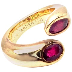 Cartier Ruby Ellipse Deux Tetes Croisees Bypass Yellow Gold Band Ring