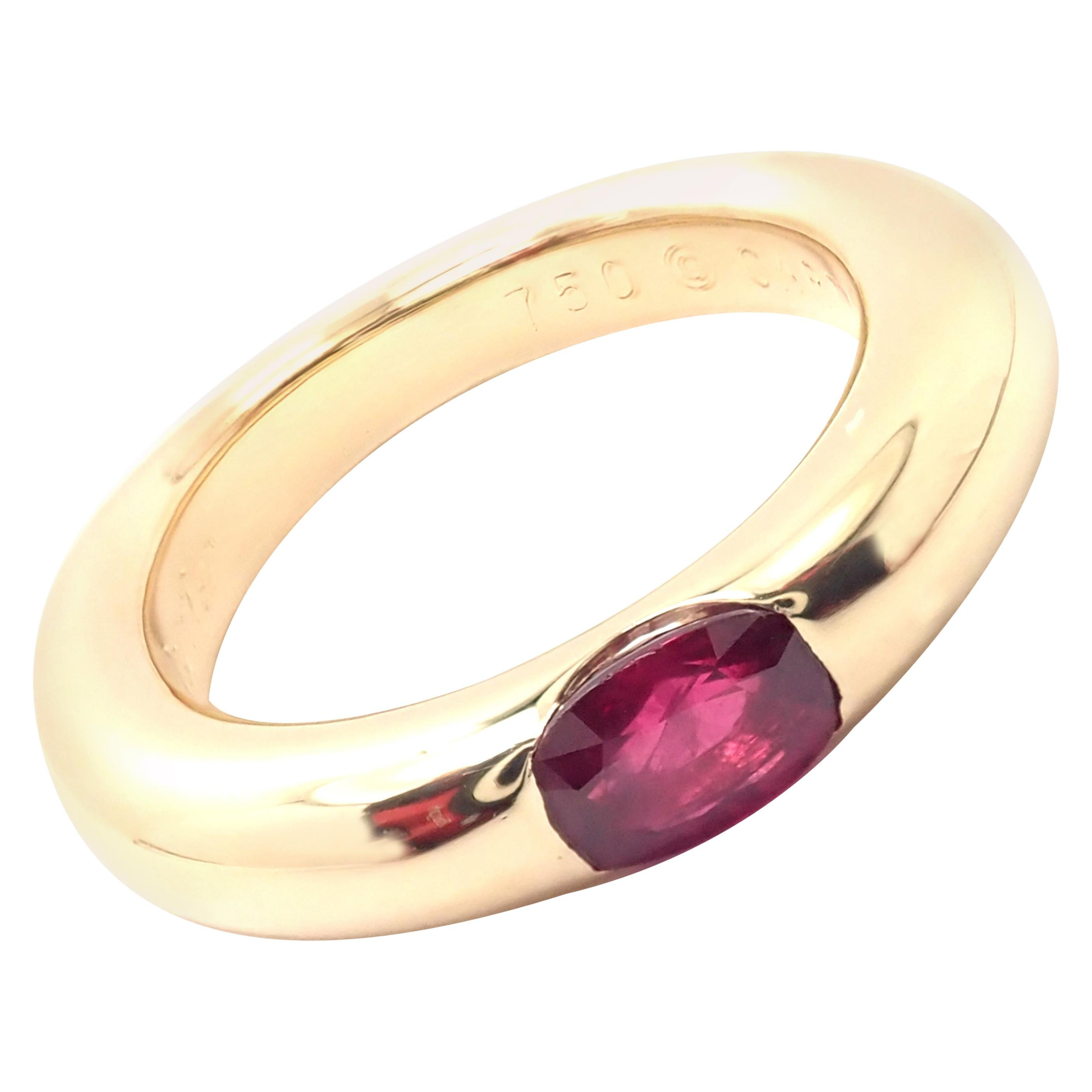 Cartier Ruby Ellipse Yellow Gold Band Ring