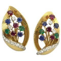 Cartier Ruby Emerald Sapphire Gold Leaf Ear Clips