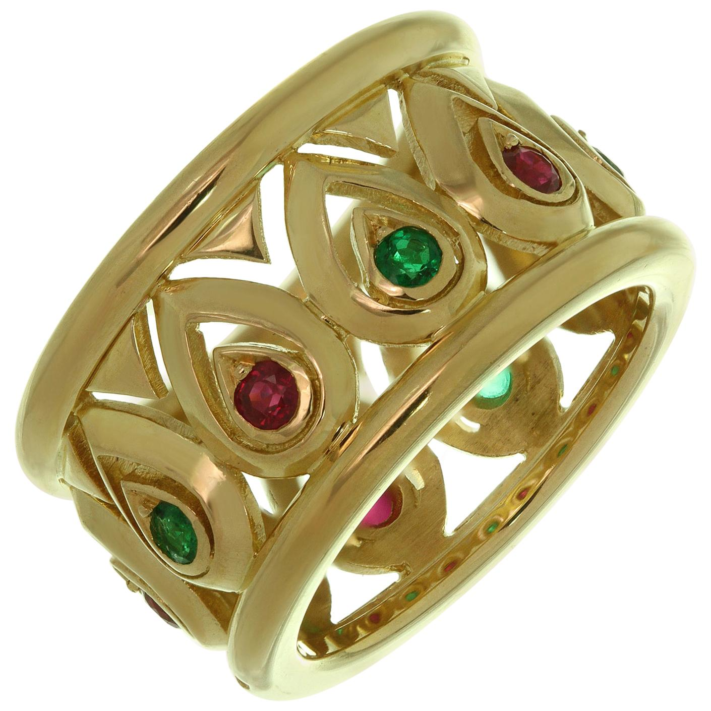 Cartier Ruby Emerald Yellow Gold Wide Band Ring