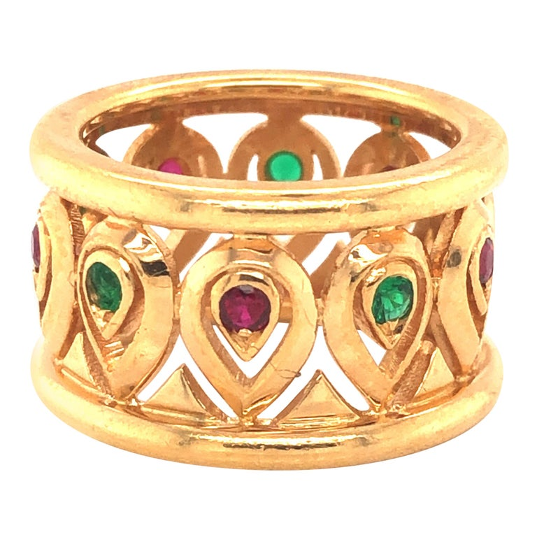 Cartier Ruby Emerald Yellow Gold Wide Band Ring For Sale