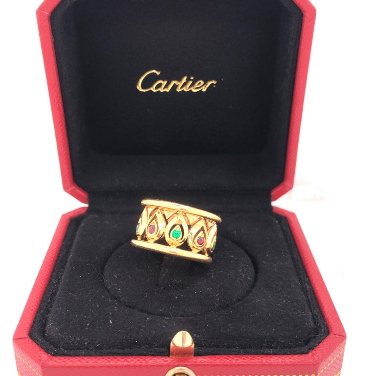 Retro Cartier Ruby Emerald Yellow Gold Wide Band Ring For Sale