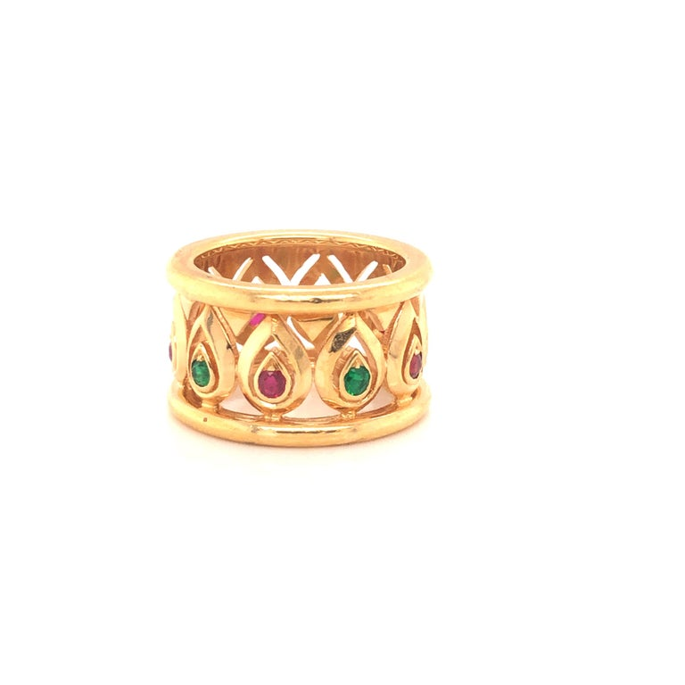 Round Cut Cartier Ruby Emerald Yellow Gold Wide Band Ring For Sale