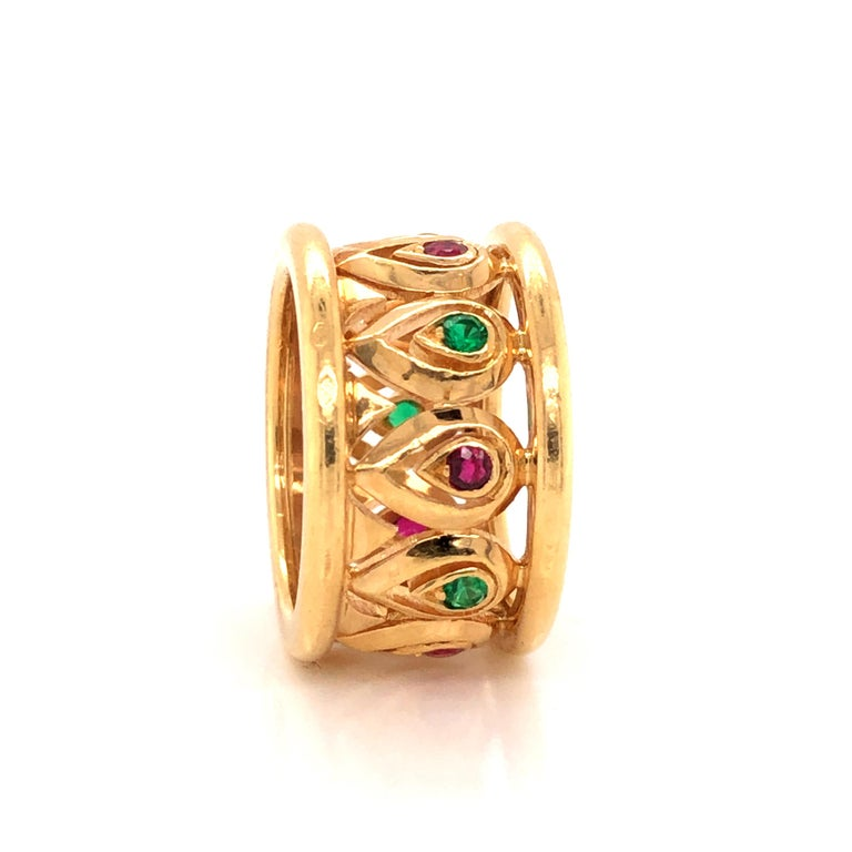 Cartier Ruby Emerald Yellow Gold Wide Band Ring In Good Condition For Sale In MIAMI, FL