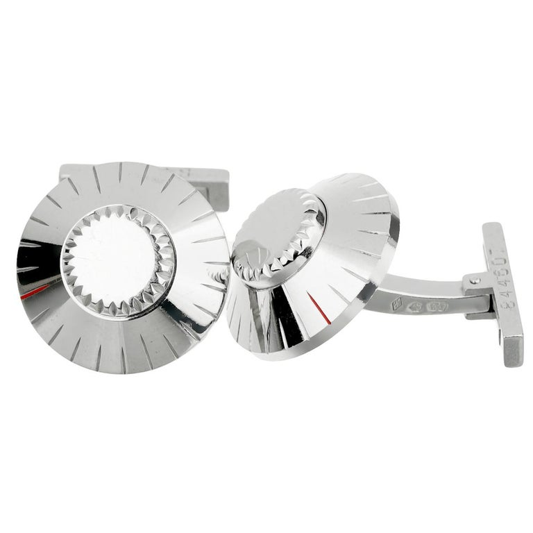 Cartier Safe Lock Combination White Gold Cufflinks In Good Condition For Sale In Feasterville, PA