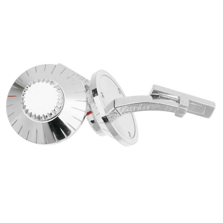 Women's or Men's Cartier Safe Lock Combination White Gold Cufflinks For Sale
