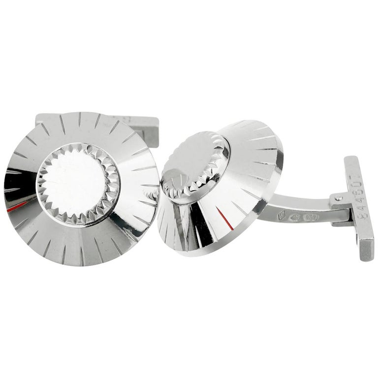 Cartier Safe Lock Combination White Gold Cufflinks For Sale