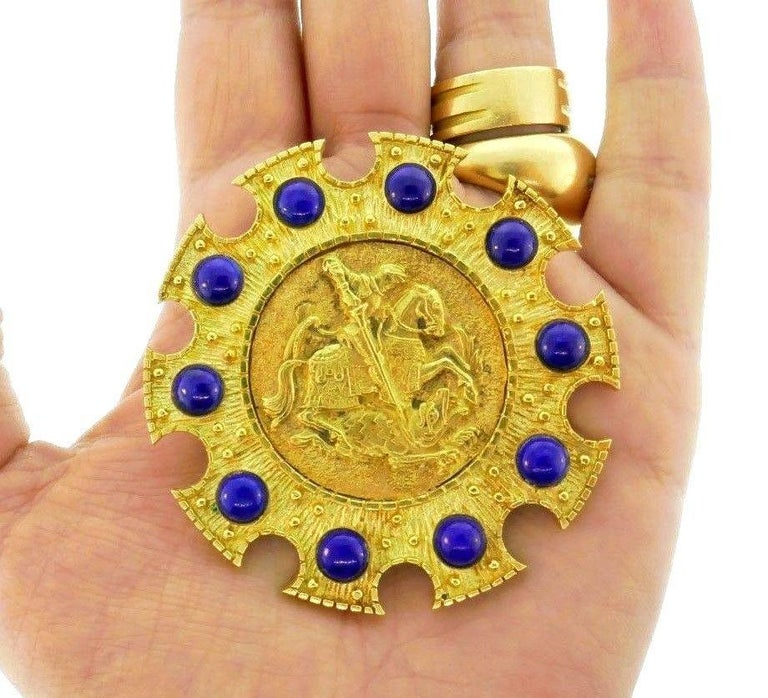 Cartier Saint George 18 Karat Yellow Gold and Lapis Pendant or Brooch 11