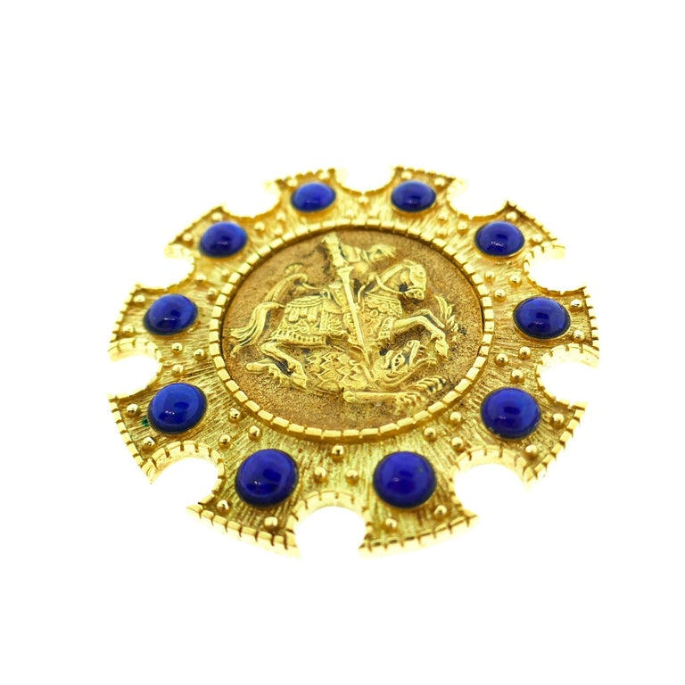 Cartier Saint George 18 Karat Yellow Gold and Lapis Pendant or Brooch 3
