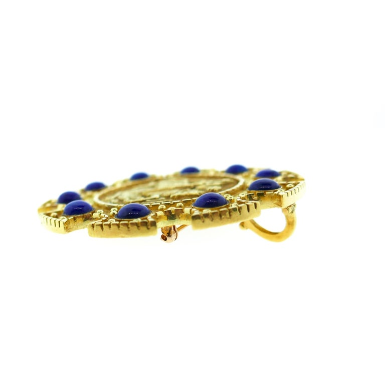 Cartier Saint George 18 Karat Yellow Gold and Lapis Pendant or Brooch 7