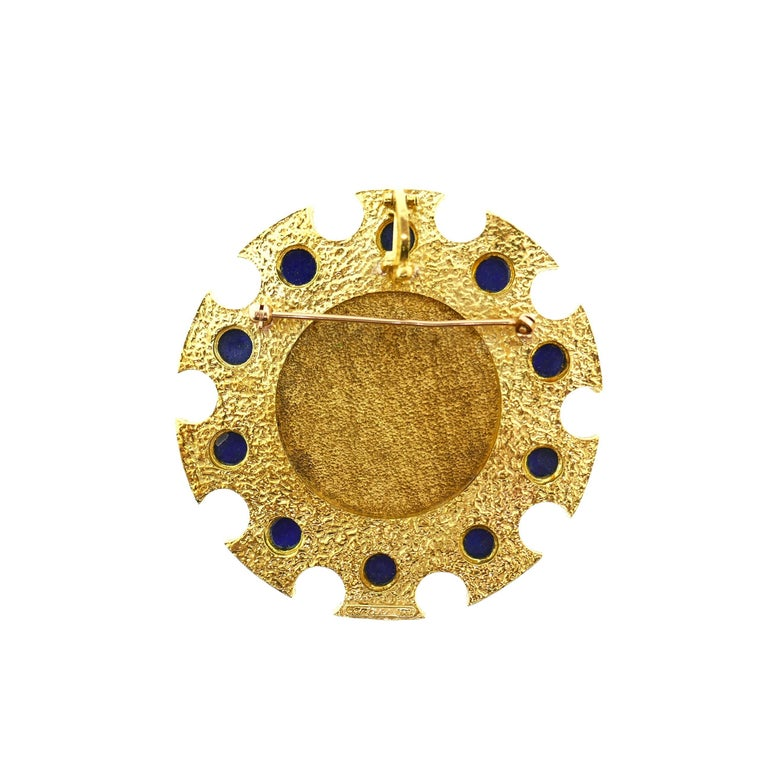 Cartier Saint George 18 Karat Yellow Gold and Lapis Pendant or Brooch 8