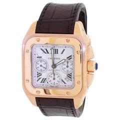 Cartier Santos 100 2935 18k Yellow Gold Automatic Chronograph Mens Watch