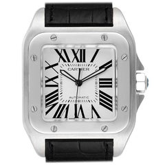 Cartier Santos 100 Black Strap Steel Men's Watch W20073X8 Papers