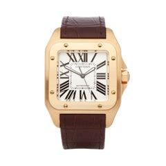 Cartier Santos 100 Extra Large 18 Karat Gold 2657 or W20071Y1 Wristwatch