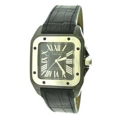 Cartier Santos 100 Ref 2878 Stainless Steel, Leather Band Watch 'Y-26'