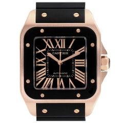 Cartier Santos 100 Rose Gold Black Dial Men's Watch W20124U2 Box Papers
