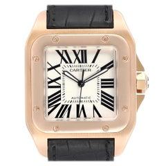 Cartier Santos 100 Rose Gold Silver Dial Men's Watch W20095Y1