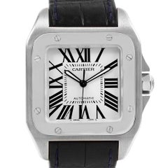 Cartier Santos 100 Silver Dial Black Strap Steel Men's Watch W20073X8