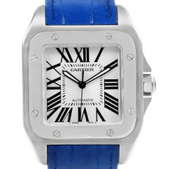 Cartier Santos 100 Silver Dial Blue Strap Steel Men's Watch W20073X8