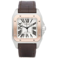 Cartier Santos 100 Stainless Steel and Rose Gold 2878