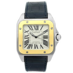 Cartier Santos 100 Steel 18K Yellow Gold Silver Automatic Men's Watch W20107X7