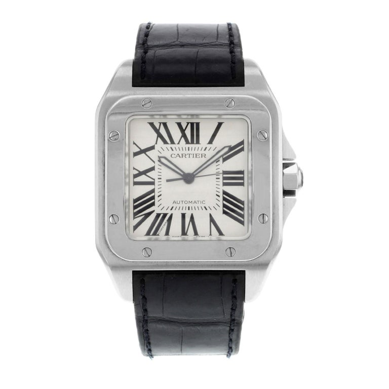 9c84aa728 Cartier Santos 100 Steel Silver Dial Automatic Mens Watch W20073X8 Mint B/P  For Sale