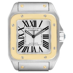 Cartier Santos 100 Steel Yellow Gold Mens Watch W200728G Box Papers
