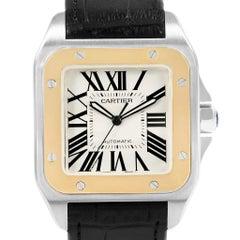 Cartier Santos 100 Steel Yellow Gold Men's Watch W20072X7 Box Papers