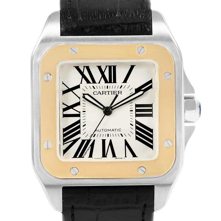 682c6c235c5c5 Cartier Santos 100 Steel Yellow Gold Men's Watch W20072X7 Box Papers