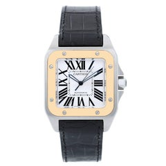 Cartier Yellow Gold Stainless Steel Santos 100 Automatic Wristwatch