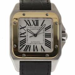 Cartier Santos 100 W20072X7 Black Leather Steel Gold 2003 Box/Paper/2YrWTY #401