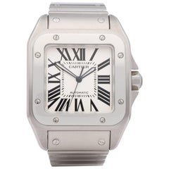 Cartier Santos 100 W200737G or 2656 Men's Stainless Steel XL Automatic Watch