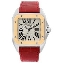 Cartier Santos 100 XL 18k Gold Steel Silver Dial Automatic Unisex Watch 2878