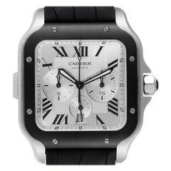 Cartier Santos 100 XL Chronograph Steel Rubber Watch WSSA0017 Box Card