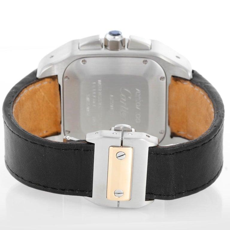 Cartier Santos 100 XL Chronograph Two Tone Men's Watch 2740 In Excellent Condition In Dallas, TX