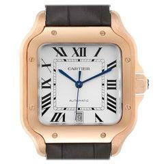 Cartier Santos 100 XL Rose Gold Silver Dial Men's Watch WGSA0007 Unworn
