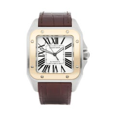 Cartier Santos 100 Xl Stainless Steel and Yellow Gold W20072X7 or 2656