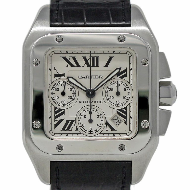 29480d978ac Cartier Santos 100 XL W20090X8 Stainless Steel Leather Automatic 2 Year  Warranty For Sale