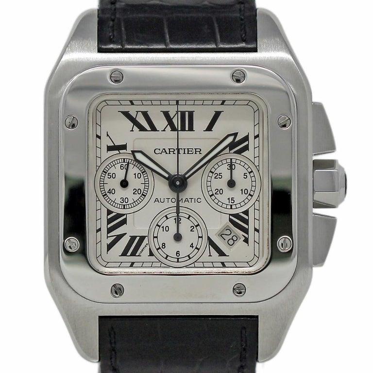 6b5a4827f4fb4 Cartier Santos 100 XL W20090X8 Stainless Steel Leather Automatic 2 Year  Warranty