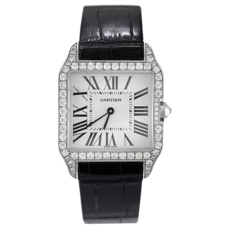 """Cartier """"Santos"""" 18 Karat White Gold Dumont Diamond Watch"""