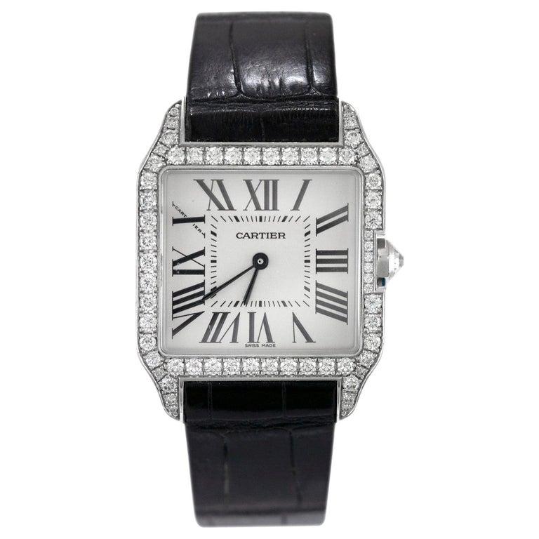 """Cartier """"Santos"""" 18 Karat White Gold Dumont Diamond Watch For Sale"""