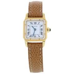 Cartier Santos 18 Karat Yellow Gold and Diamonds Ladies Watch