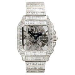 Cartier Santos 18k White Gold Skeleton All Diamond Chandelier Watch