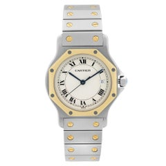 Cartier Santos Octagon 18K Gold Steel Quartz Ladies Watch 187902